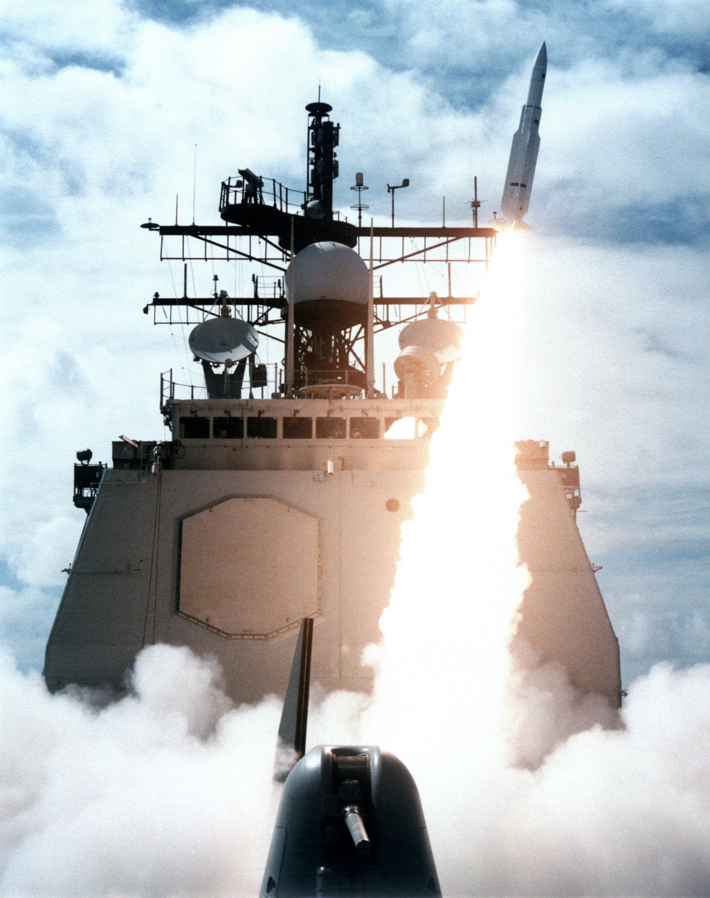 US Navy (USN) Ticonderoga Class Cruiser USS VINCENNES (CG 49) launching a Standard Missile-2 (SM-2) Medium Range (MR) from its deck. File photo