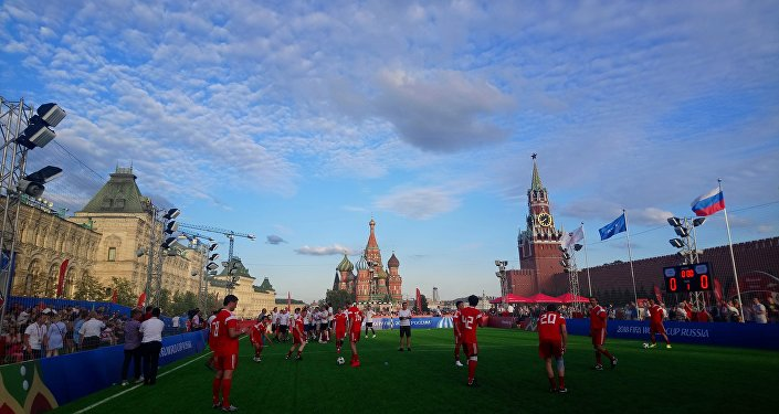 England fans vs Russian fans tournament in the Red Square in Moscow