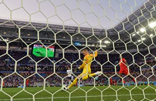 England's goalkeeper Jordan Pickford makes a save during the World Cup Group G soccer match between England and Belgium at the Kaliningrad Stadium, in Kaliningrad, Russia, June 28, 2018.
