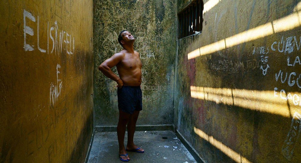 Raphael Rowe, in a cell at Porto Velho prison in Brazil, which features in Inside The World's Toughest Prisons