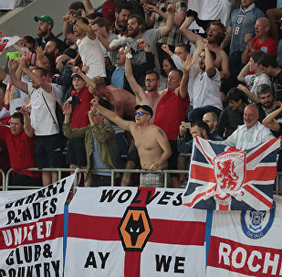 England's fans cheer after team's victory at the World Cup Round of 16 soccer match between Colombia and England, at the Spartak Arena, in Moscow, Russia, July 3, 2018.