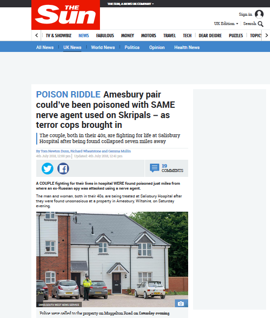Screengrab of The Sun's take on the Amesbury incident.
