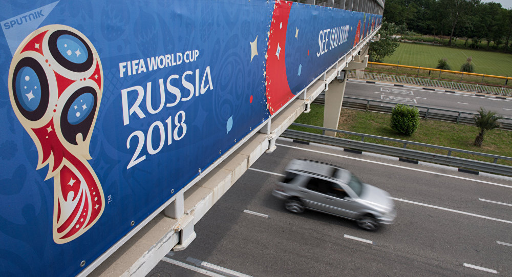 A banner installed on the pedestrian overpass near Sochi Airport for the 2018 FIFA World Cup