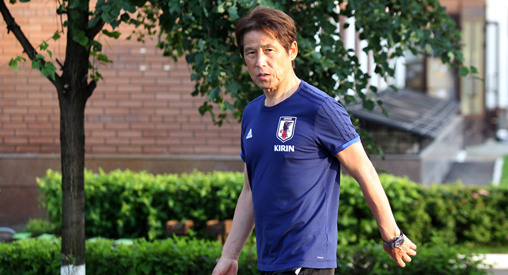 Soccer Football - World Cup - Japan Media Scrum - FC Rubin Kazan training base, Kazan, Russia - July 3, 2018 Japan's coach Akira Nishino arrives for media scrum