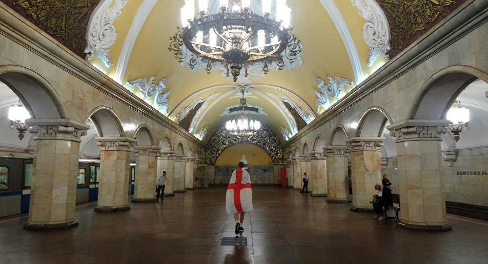 An England fan in Moscow metro
