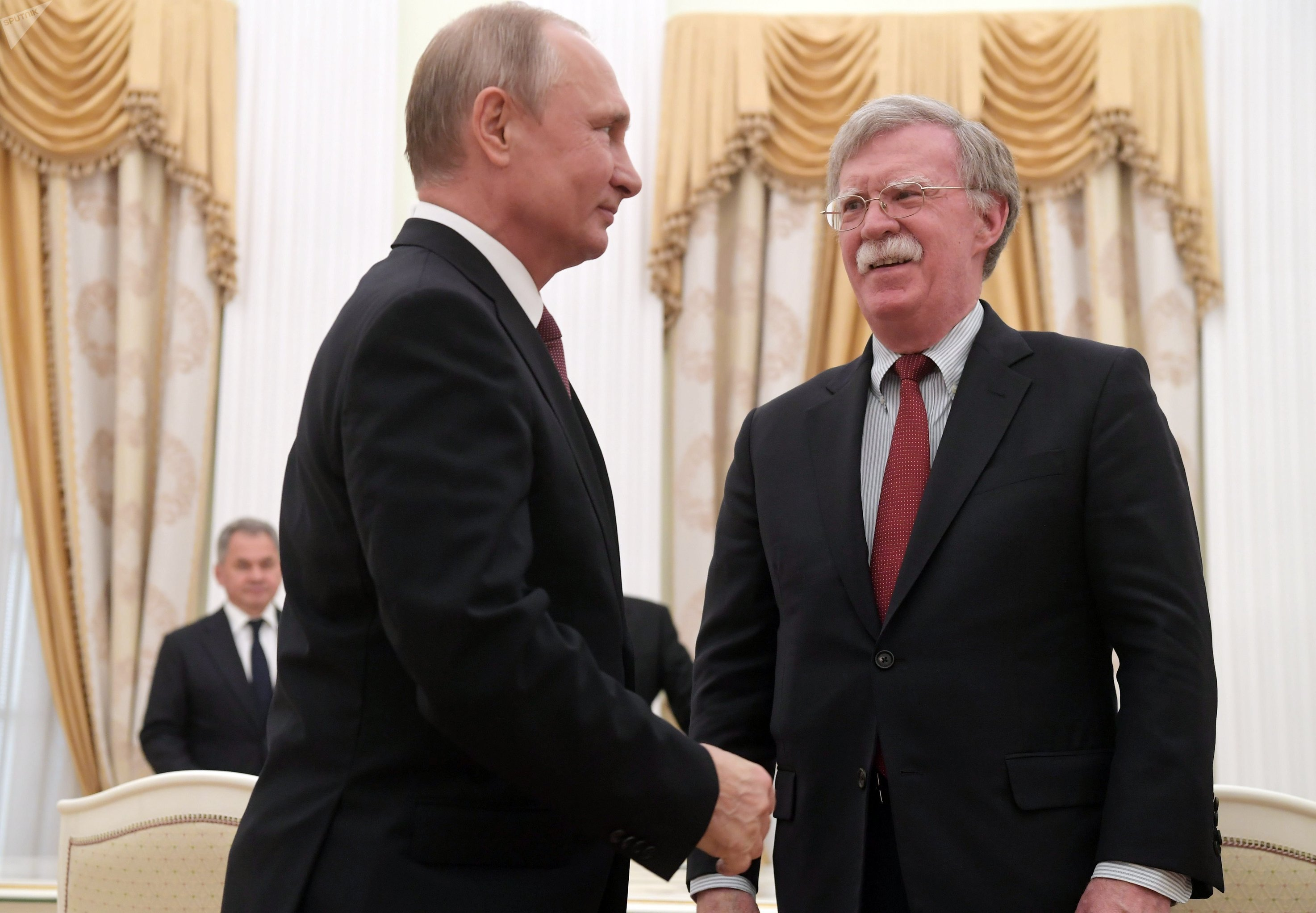 June 27, 2018. Russian President Vladimir Putin and Assistant to the US President for National Security Affairs John Bolton, right, during a meeting in the Kremlin