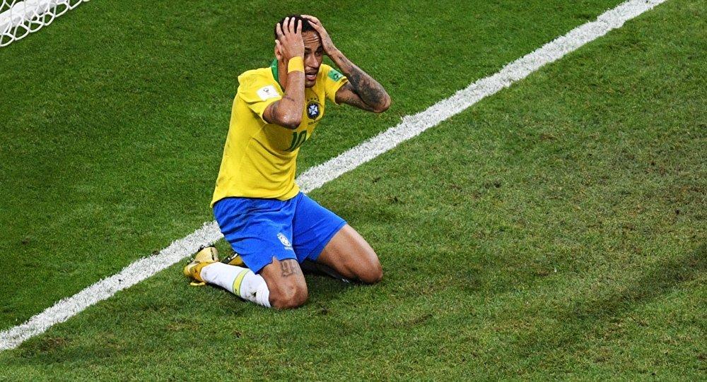 Neymar during World Cup's quarterfinals match between Brazil and Belgium in Kazan