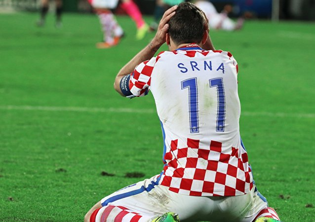 Croatia's Darijo Srna after the 2016 UEFA European Championship 1/8 final between the national teams of Croatia and Portugal.