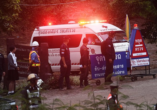 An ambulance leave the Tham Luang cave area after divers evacuated some of the 12 boys and their coach trapped at the cave in Khun Nam Nang Non Forest Park in the Mae Sai district of Chiang Rai province on July 8, 2018