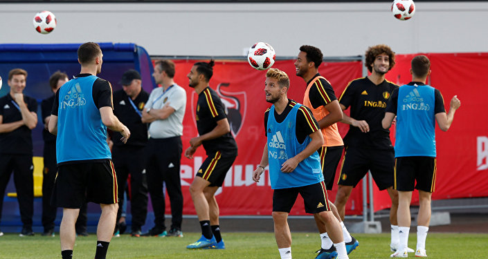 Soccer Football - World Cup - Belgium Training - Belgium Training Camp, Dedovsk, Russia - July 8, 2018 Belgium's Dries Mertens during training