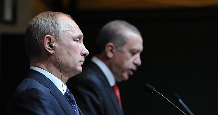 A file photo showing Russian President Vladimir Putin, left, and President of Turkey Recep Tayyip Erdogan