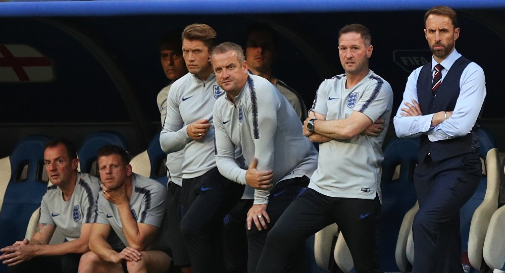 Head coach of England Gareth Southgate in the 1/4 finals of the World Cup between Sweden and England.
