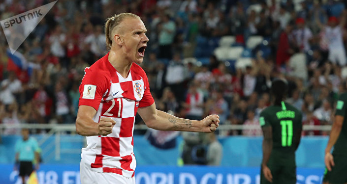 Croatia's Domagoj Vida celebrates his team goal during the World Cup Group D soccer match between Croatia and Nigeria in Kaliningrad, Russia, June 16, 2018