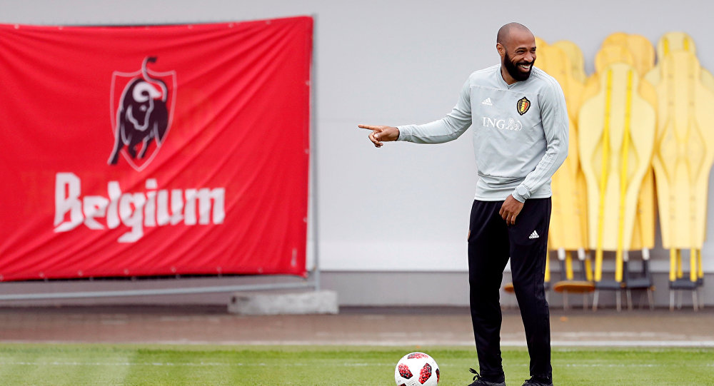 Soccer Football - World Cup - Belgium Training - Belgium Training Camp, Dedovsk, Russia - July 9, 2018 Belgium assistant coach Thierry Henry during training