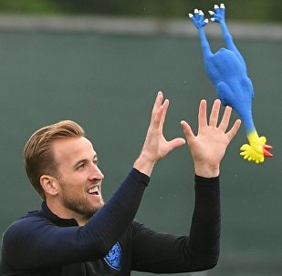 England's Harry Kane plays with a toy rooster during the national soccer team's training session in St. Petersburg, Russia, July 10, 2018.
