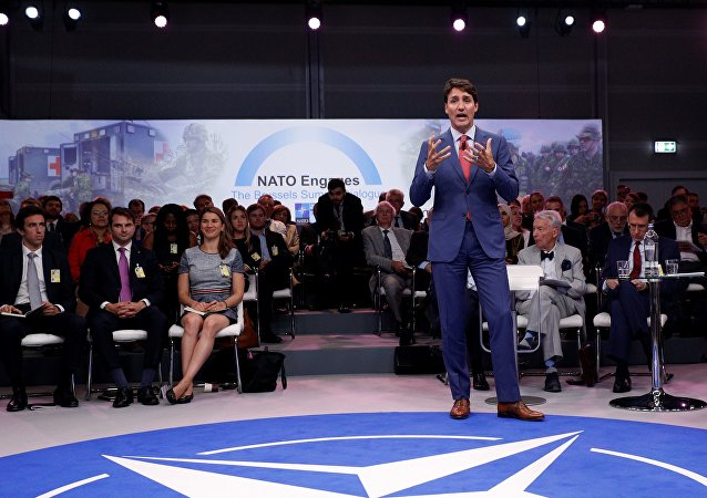 Canada's Prime Minister Justin Trudeau addresses the 'NATO Engages: The Brussels Summit Dialogue' event ahead of the NATO (North Atlantic Treaty Organization) summit, at the NATO headquarters in Brussels, on July 11, 2018