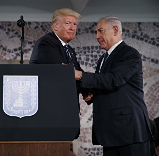 President Donald Trump shakes hands with Israeli Prime Minister Benjamin Netanyahu before delivering a speech at the Israel Museum, Tuesday, May 23, 2017, in Jerusalem