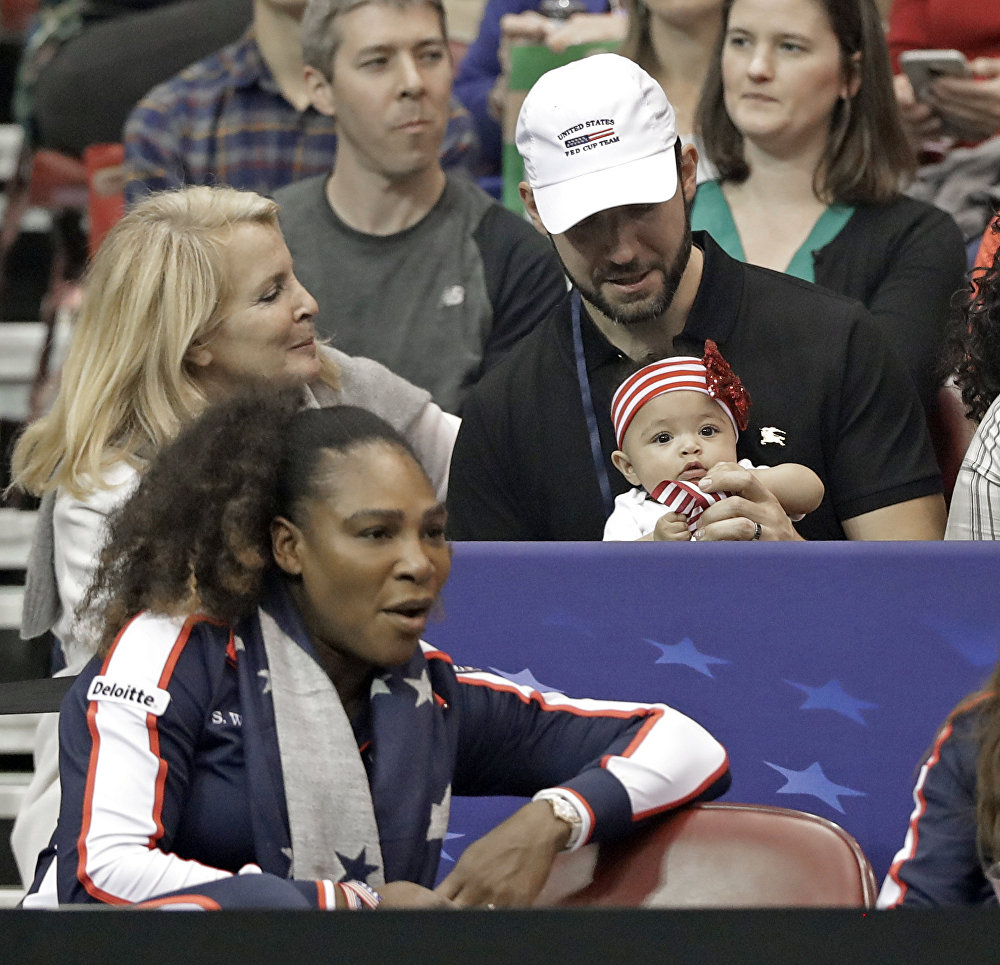 Serena Williams is pictured with her husband Alexis Ohanian and their baby daughter Alexis Olympia in February 2018
