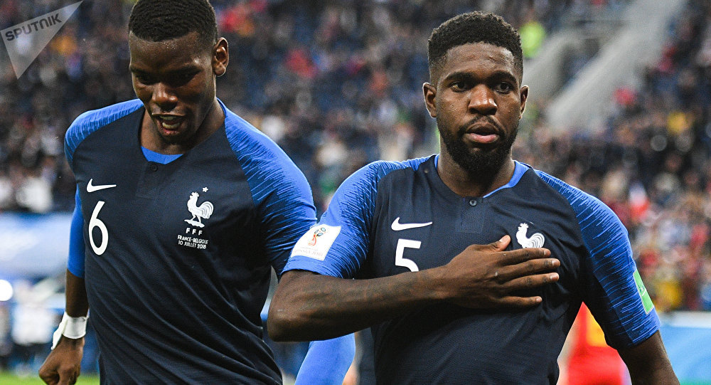 Paul Pogba and Samuel Yves Umtiti (France) in a semifinal match of the FIFA World Cup between French national teams and Belgium