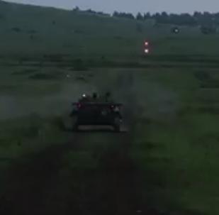 Russian AFV Crews Performing Nighttime Firing Drills