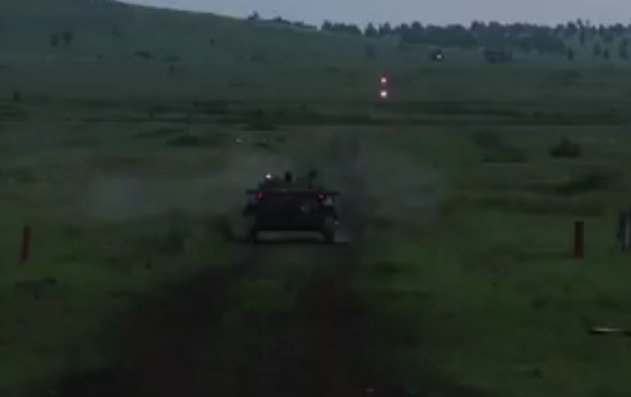 Russian AFV Crews Performing Nighttime Firing Drills