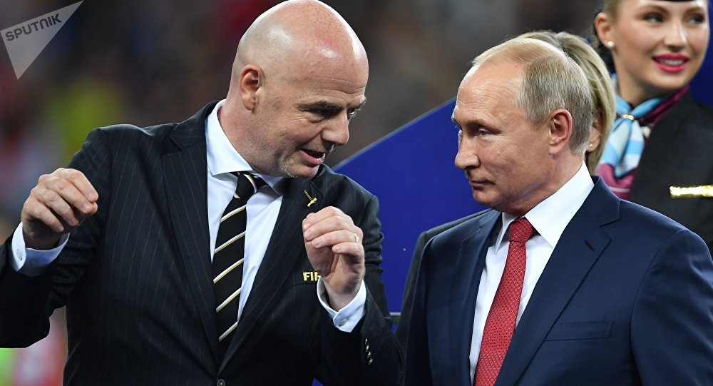 Russian President Vladimir Putin awards winners of World Cup 2018 after France defeats Croatia on July 15.