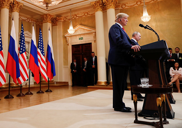 U.S. President Donald Trump and Russia's President Vladimir Putin hold a joint news conference after their meeting in Helsinki, Finland, July 16, 2018
