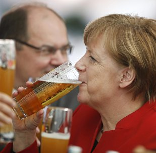 German Chancellor Merkel attends 500th anniversary ceremony of the German Beer Purity Law in Ingolstadt.