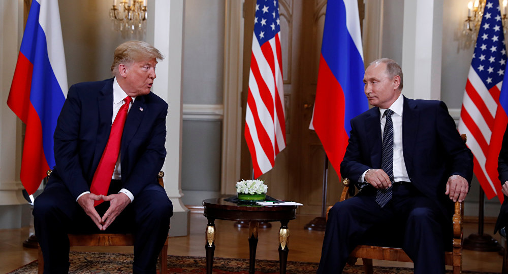 US President Donald Trump meets with Russia's President Vladimir Putin in Helsinki, Finland, July 16, 2018