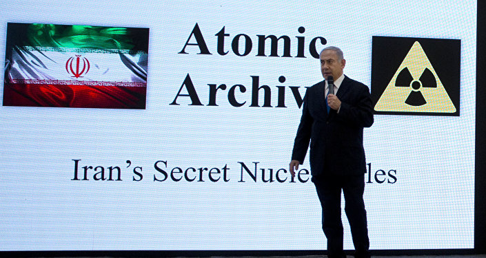 April 30 2018, file photo, Israeli Prime Minister Benjamin Netanyahu presents material on Iran's purported nuclear program in Tel Aviv