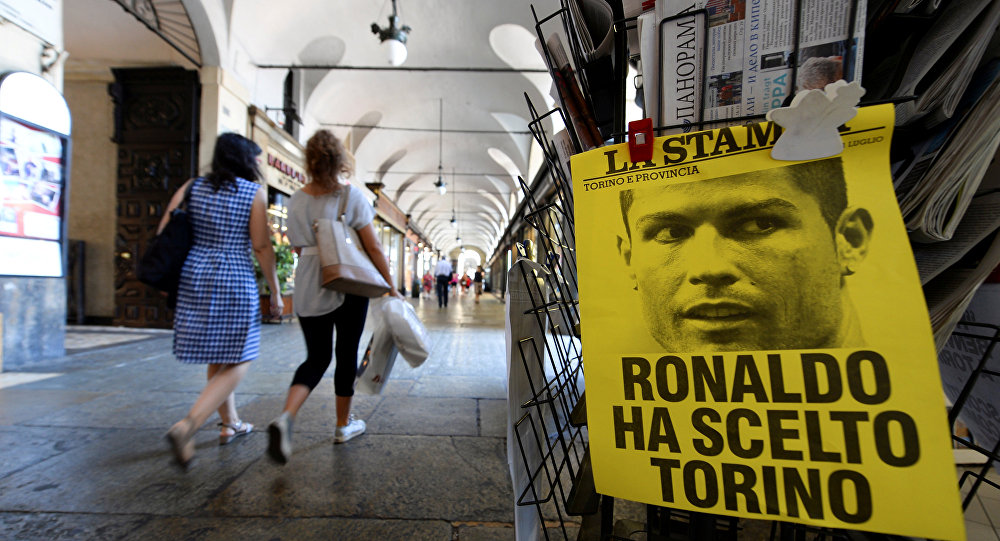 A poster reading Ronaldo chose Turin is seen in downtown Turin, Italy July 11, 2018