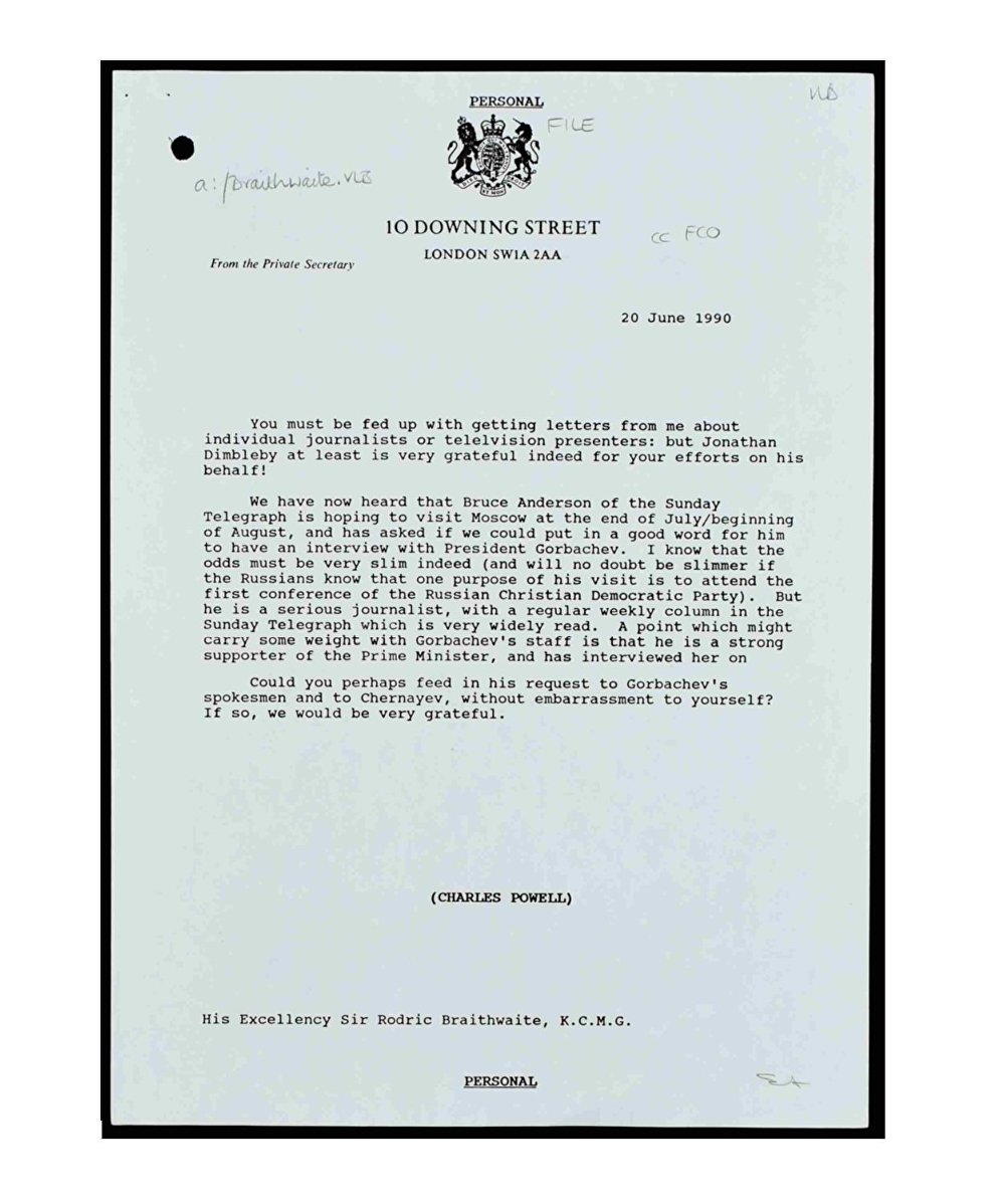 Letter From Thatcher Aide Powell to British Ambassador in Moscow Asking to Help Sunday Telegraph