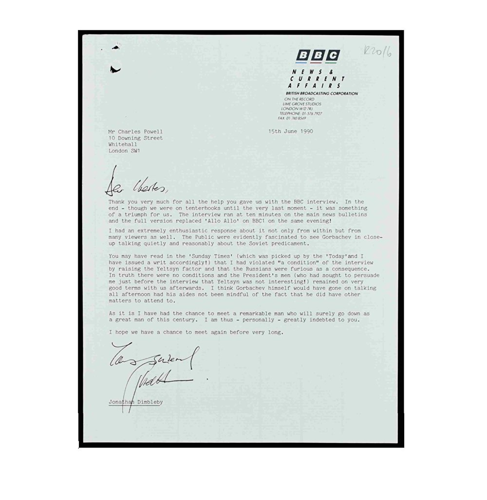 Dimbleby letter to Powell thanking for help with Gorbachev