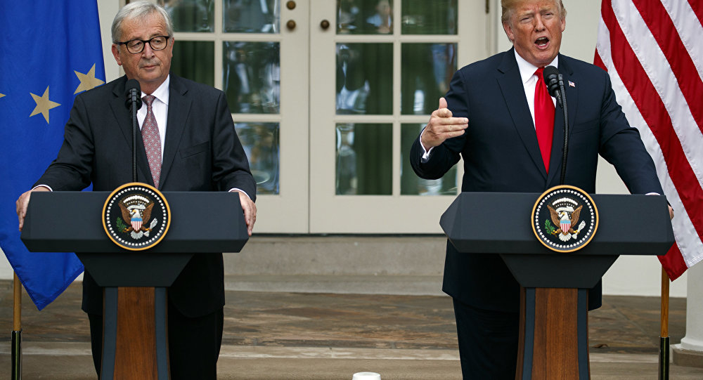 President Donald Trump and European Commission president Jean-Claude Juncker speak in the Rose Garden of the White House, Wednesday, July 25, 2018, in Washington