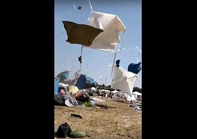 Small Tornado Blows Tents Up at a Festival in Germany