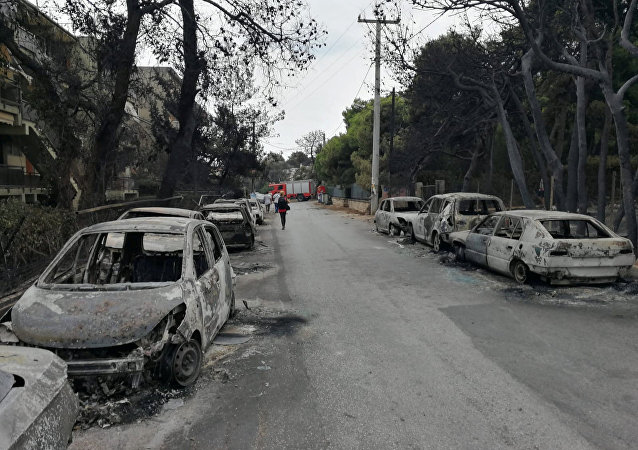 The aftermath of a wildfire is seen in Mati, Greece July 24, 2018 in this photo obtained from social media on July 27, 2018