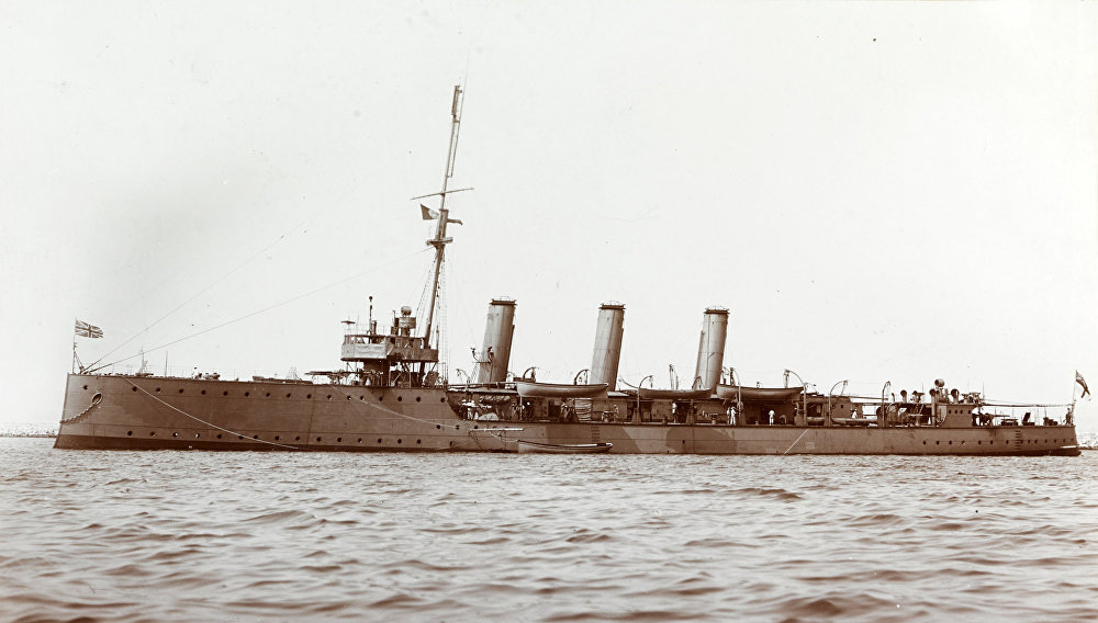 HMS Pathfinder, pictured, was the first warship to be destroyed by a submerged submarine firing a self-propelled torpedo