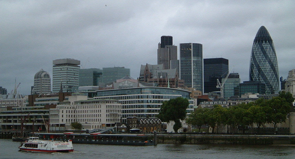 Modern-age buildings in the business area of London city.