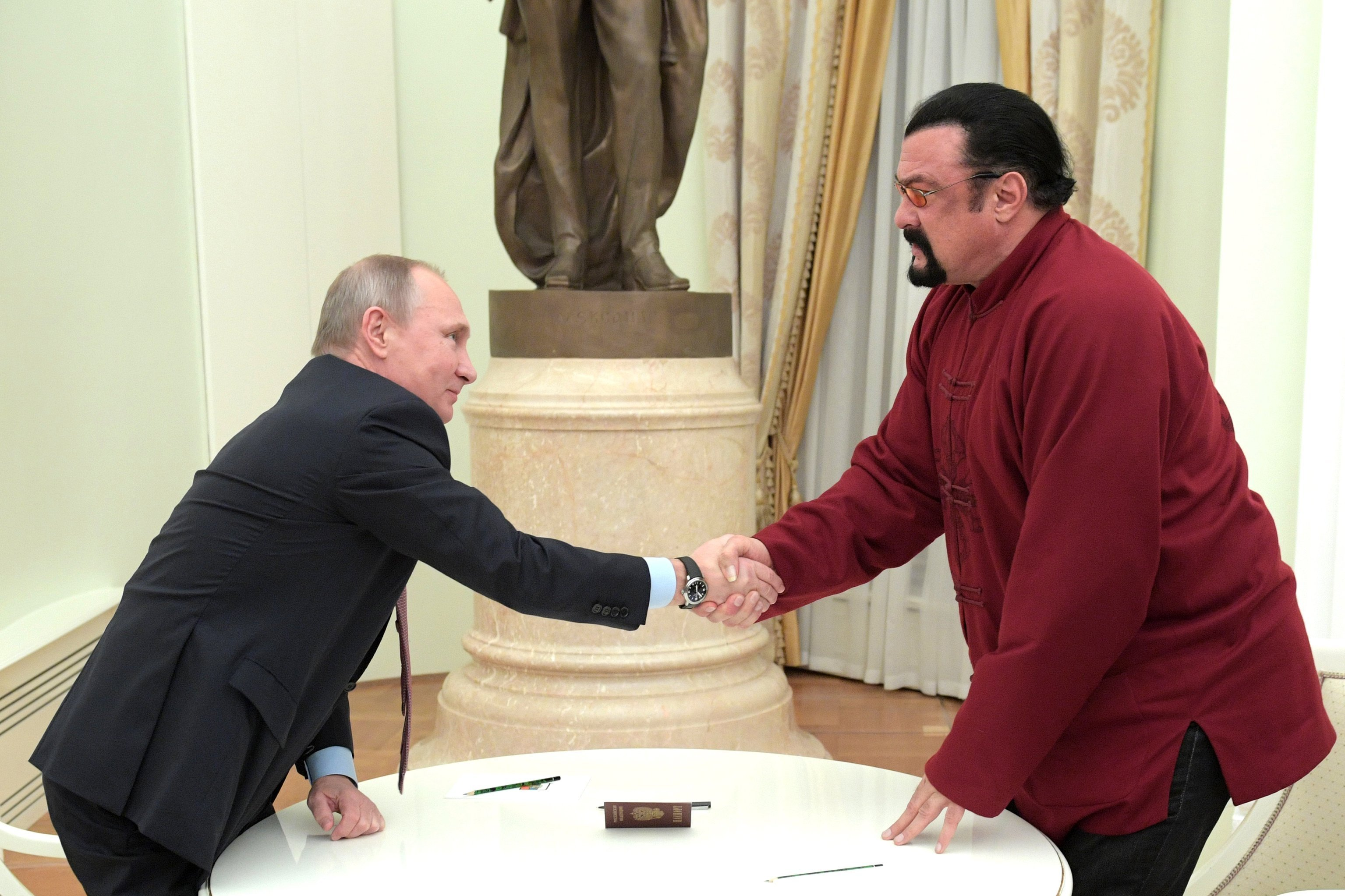 President Putin meets with US actor Steven Seagal