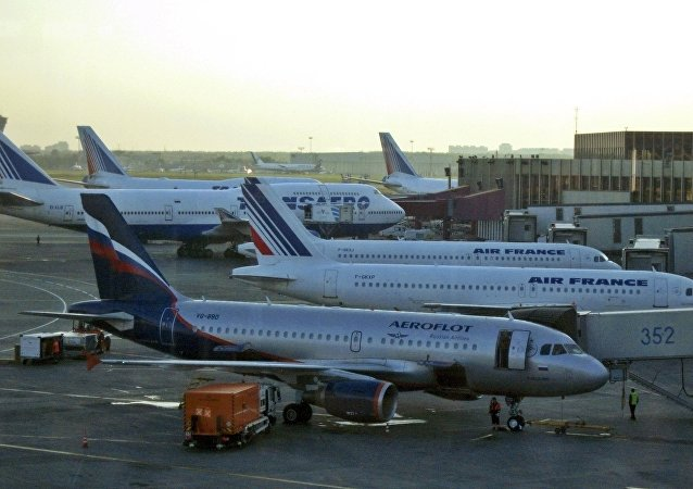 Passenger planes belonging to Aeroflot, Air France and Transaero parked on the tarmac at Moscow's Sheremetyevo airport, Moscow.