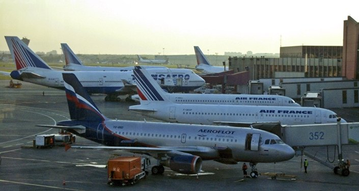 Passengers planes are parked on the tarmac of Moscow's Sheremetyevo airport, Russia