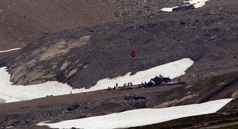 A general view of the accident site of a Junkers Ju-52 airplane of the local airline JU-AIR, in 2,450 meters (8,038 feet) above sea level near the mountain resort of Flims, Switzerland August 5, 2018