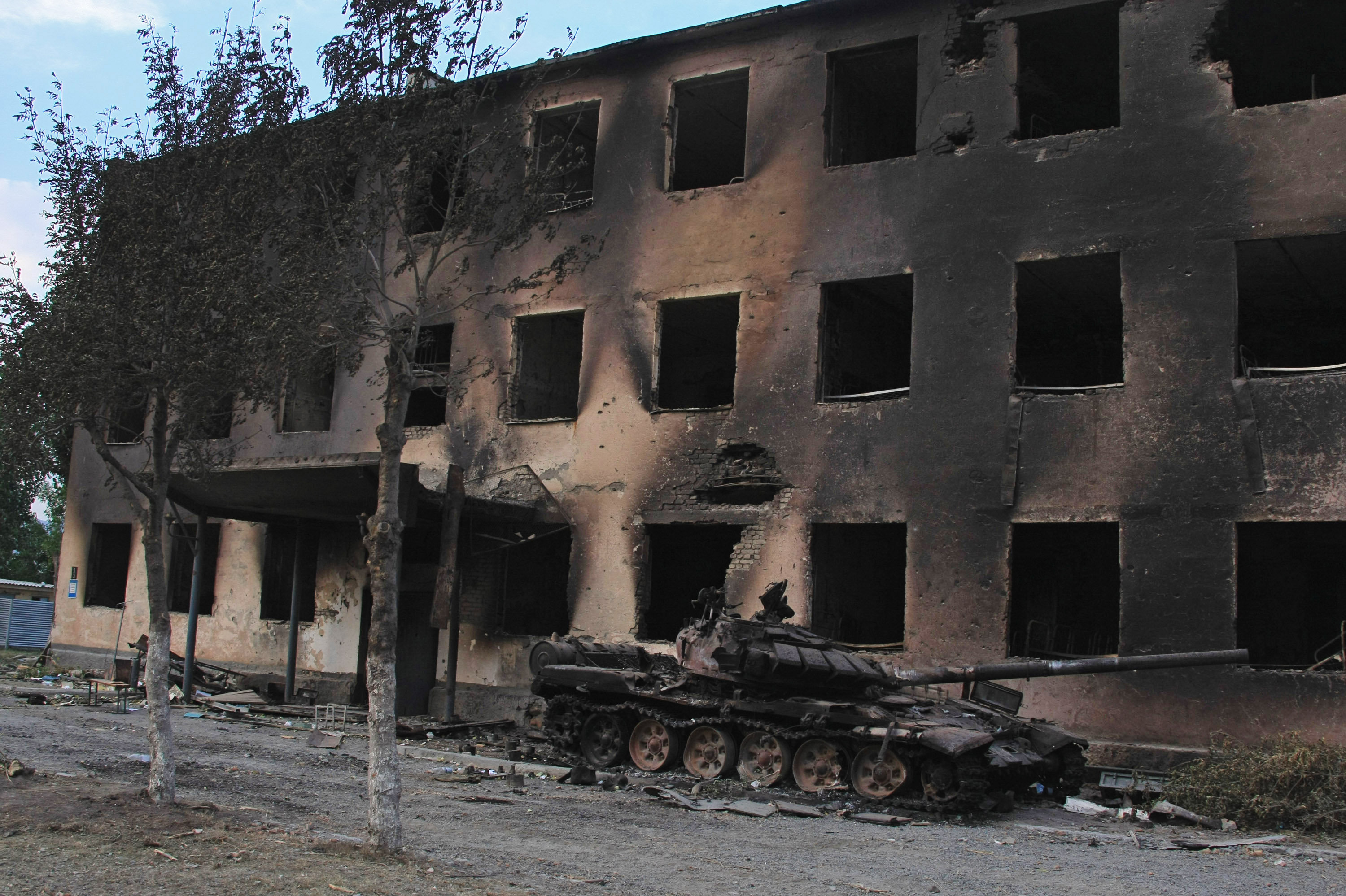 A Russian peacekeepers' destroyed military base in Tskhinvali, South Ossetia. File photo