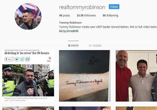 Tommy Robinson's Instagram account