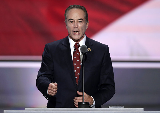 In this July 19, 2016 file photo, Rep. Chris Collins, R-NY. speaks in Cleveland.