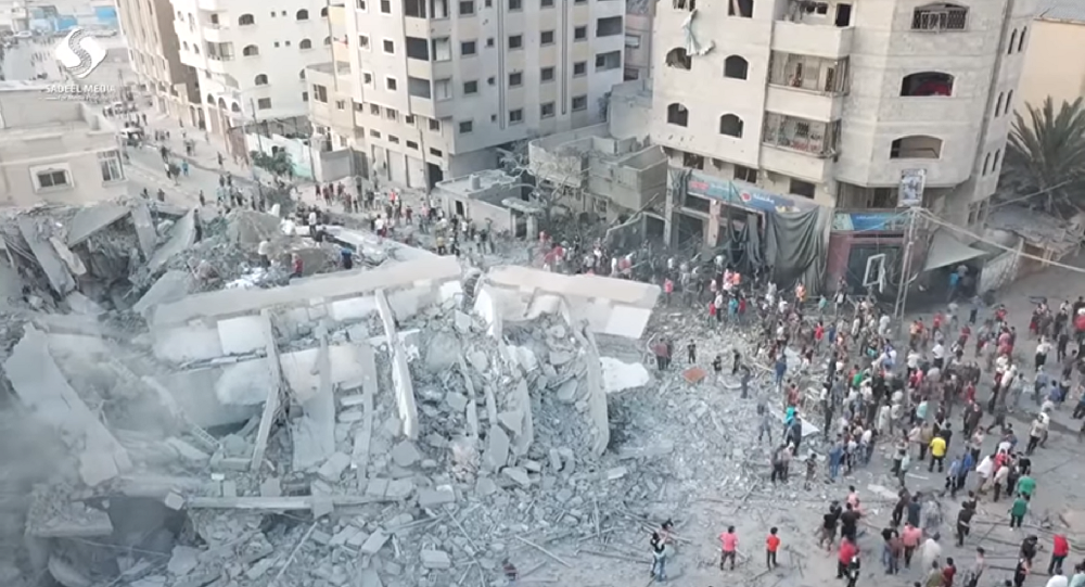 Israel bombed the Said al-Mishal Cultural Center on Thursday in what the country said was retaliation over rocket fire from Gaza before before reaching a ceasefire with Hamas later that night.