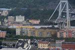 The collapsed Morandi Bridge is seen in the Italian port city of Genoa August 14, 2018