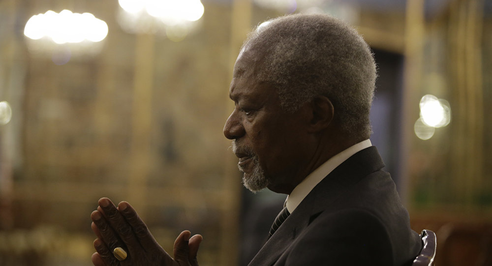 Former U.N. Secretary General Kofi Annan is interviewed by the Associated Press at the Palazzo Reale, in Milan, Italy, Saturday, Nov. 4, 2017. Annan and Mozambican humanitarian and widow of Nelson Mandela Graca Machel are addressing a summit on the global crisis of malnutrition that is an underlying cause of half of child deaths