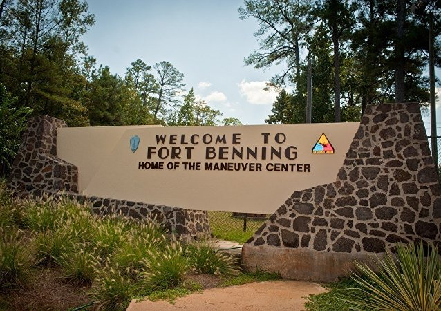 A welcome sign at the U.S. Army's Ft. Benning base.