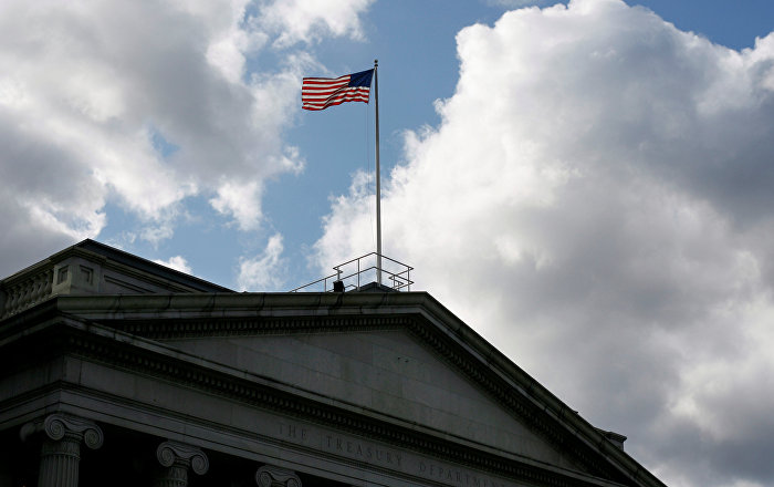 A sign marks the U.S Treasury Department in Washington, U.S., August 6, 2018
